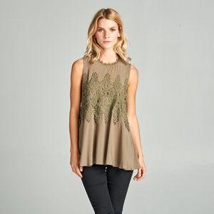 Olive Crochet Lace Sleeveless Peplum Tank